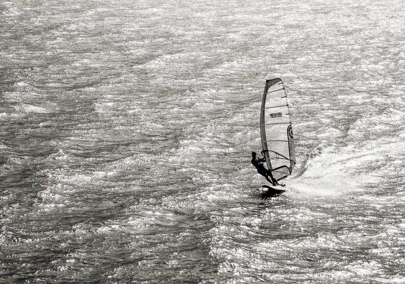 Surfer am Gardasee, Sonnenuntergang, Torbole