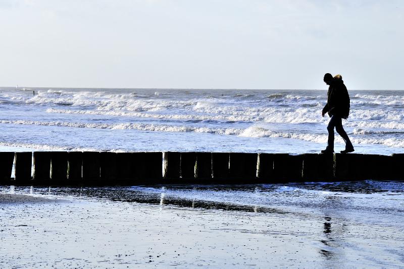 Norderney, Strand, Spaziergang, Person, Mann, Wasser, Nordsee, Meer, geht, Steine, Silhouette