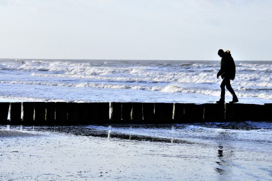 Norderney, am Strand, Silhouette