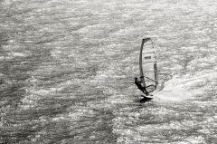 Surfen in Torbole, Gardasee, Abendlicht