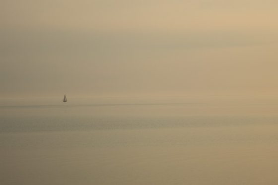 Ein Abend an der See, Segelboot bei Stavoren, Niederlande